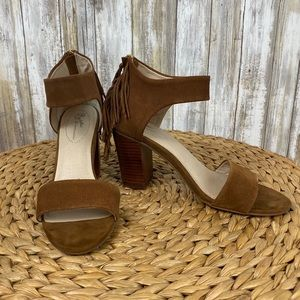 Seychelles Suede Heels Fringe Zipper Strappy Shoes